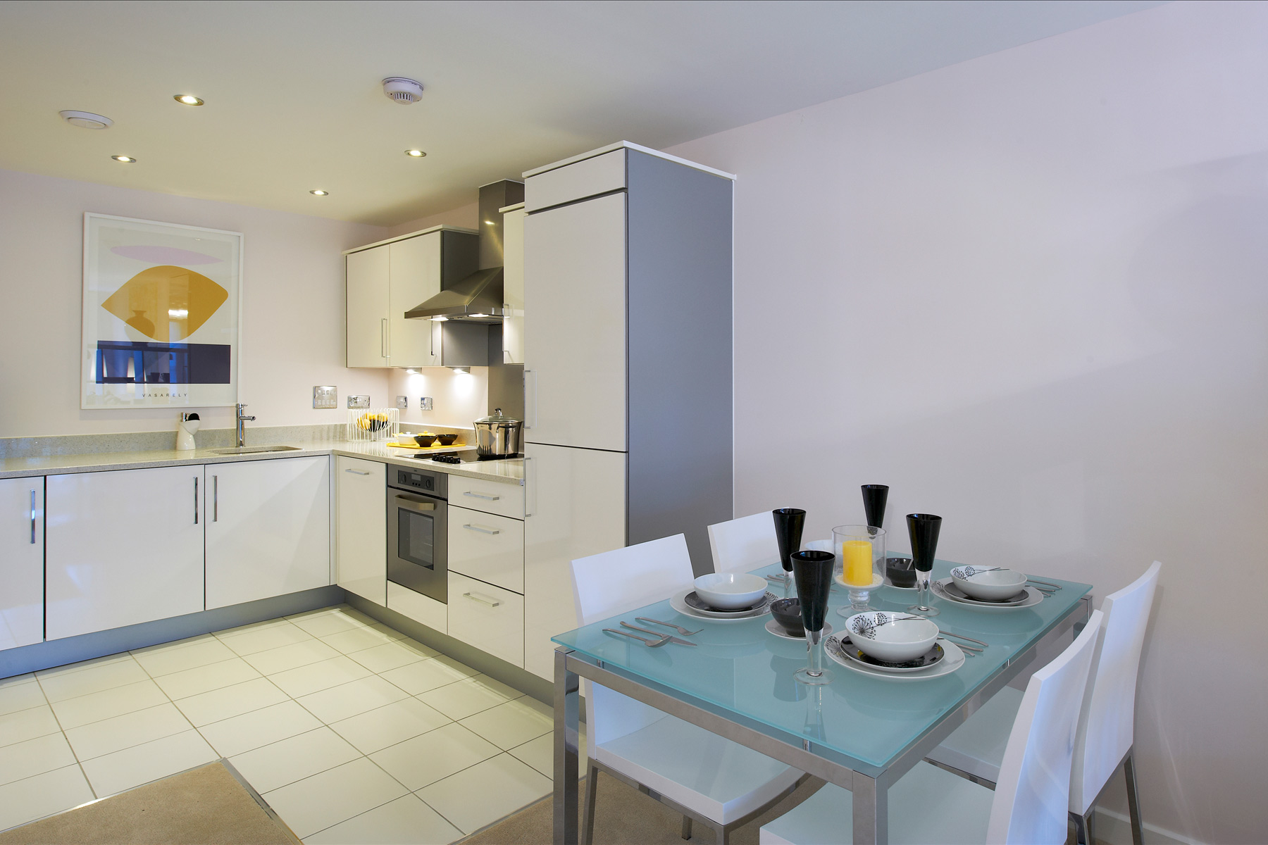 A typical Taylor Wimpey apartment kitchen/dining area.
